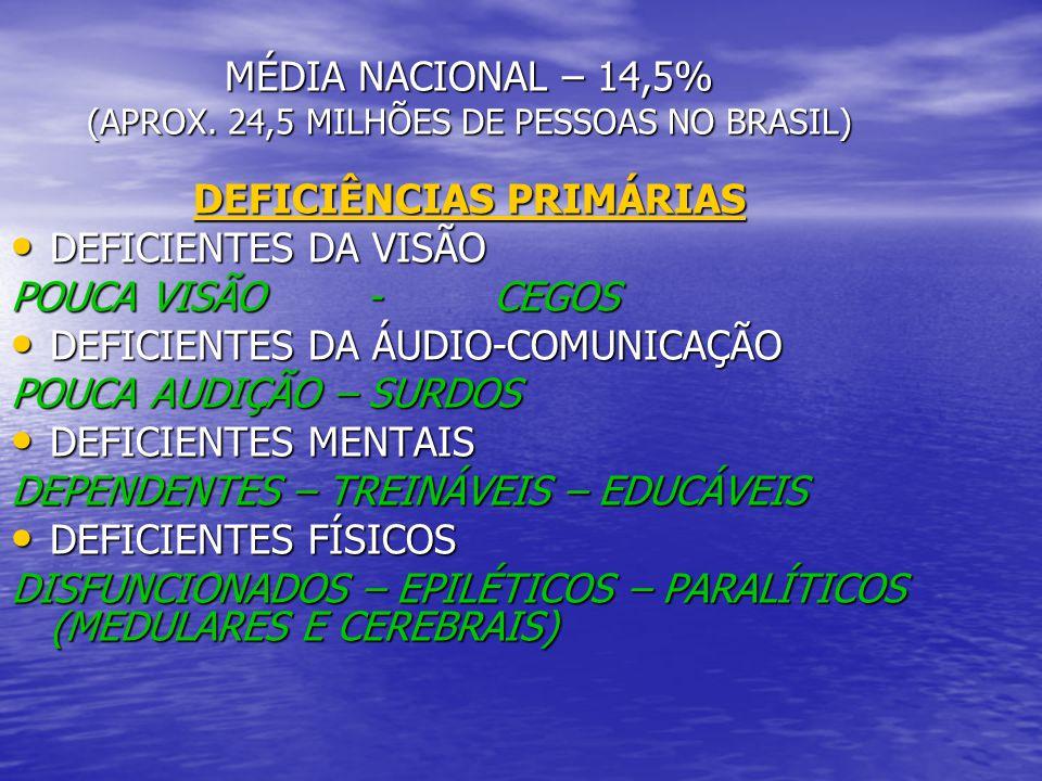 ESTATÍSTICAS – CENSO 2000 DEF.MENTAL – 8,3 % (2.848.684) DEF.