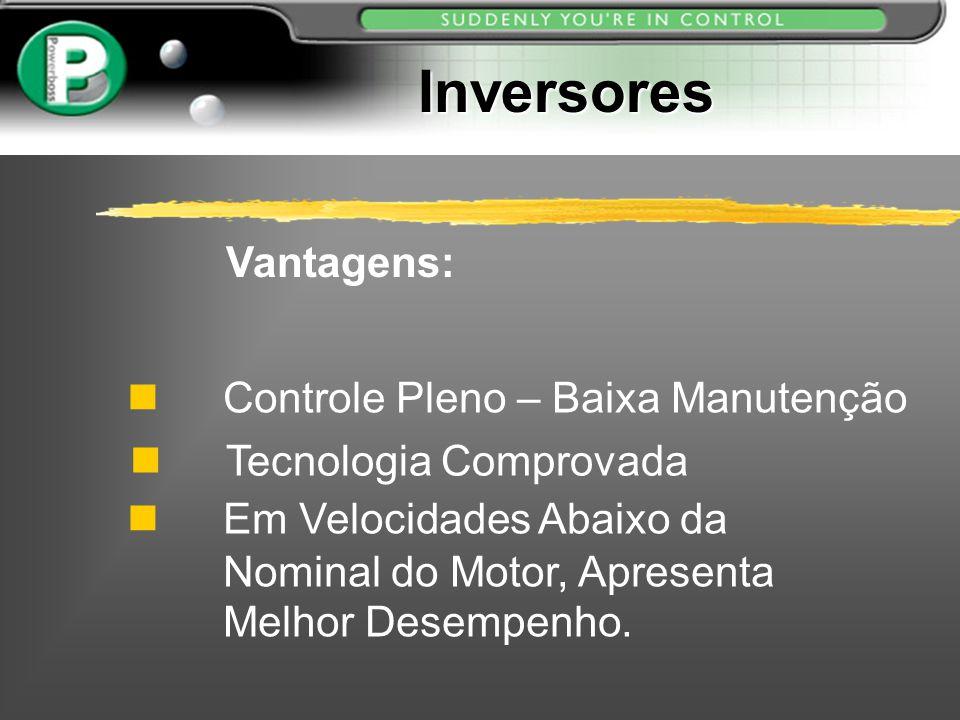 Inversores Controle Pleno – Baixa Manutenção Tecnologia Comprovada Vantagens: Em Velocidades Abaixo da Nominal do Motor, Apresenta Melhor Desempenho.