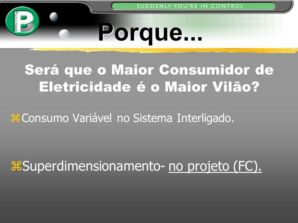 Será que o Maior Consumidor de Eletricidade é o Maior Vilão? zConsumo Variável no Sistema Interligado. zSuperdimensionamento- no projeto (FC). Porque.