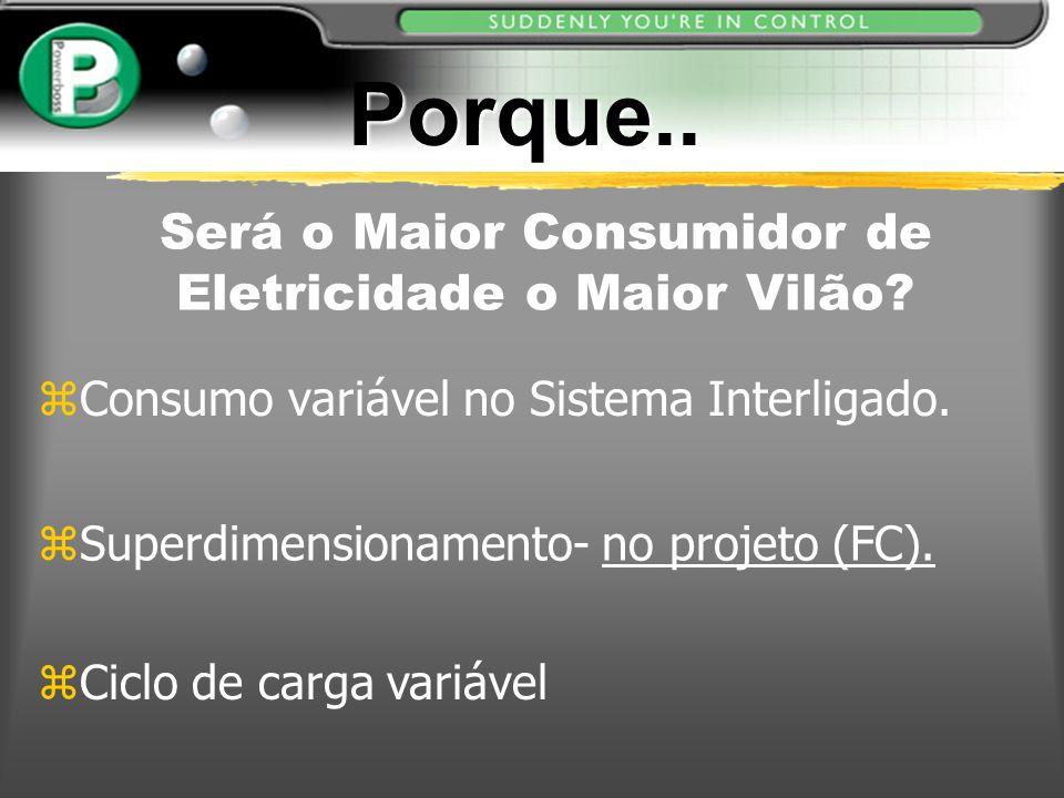 zConsumo variável no Sistema Interligado. zSuperdimensionamento- no projeto (FC). zCiclo de carga variável Será o Maior Consumidor de Eletricidade o M