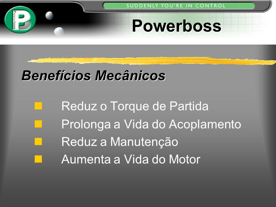 Benefícios Mecânicos Reduz o Torque de Partida n Prolonga a Vida do Acoplamento n Reduz a Manutenção Aumenta a Vida do Motor Powerboss