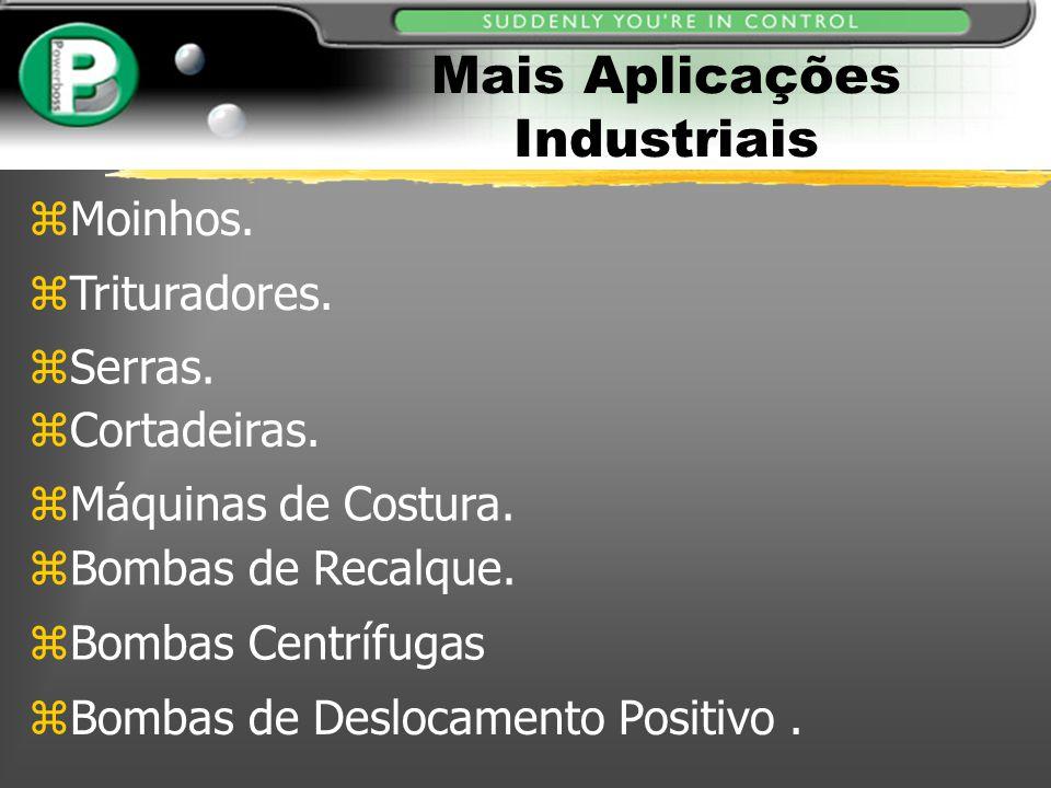 Mais Aplicações Industriais zMoinhos. zTrituradores. zSerras. zCortadeiras. zMáquinas de Costura. zBombas de Recalque. zBombas Centrífugas zBombas de