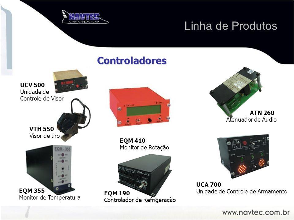 EQM 410 Monitor de Rotação EQM 355 Monitor de Temperatura EQM 190 Controlador de Refrigeração UCA 700 Unidade de Controle de Armamento VTH 550 Visor de tiro Controladores ATN 260 Atenuador de Áudio UCV 500 Unidade de Controle de Visor