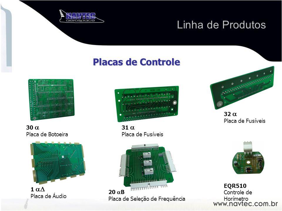 Linha de Produtos EQR 510 Controlador de Horímetro 20 B Placa de Seleção de Frequência 1 Placa de Áudio 30 Placa de Botoeira 31 Placa de Fusíveis 32 Placa de Fusíveis Placas de Controle EQR510 Controle de Horímetro
