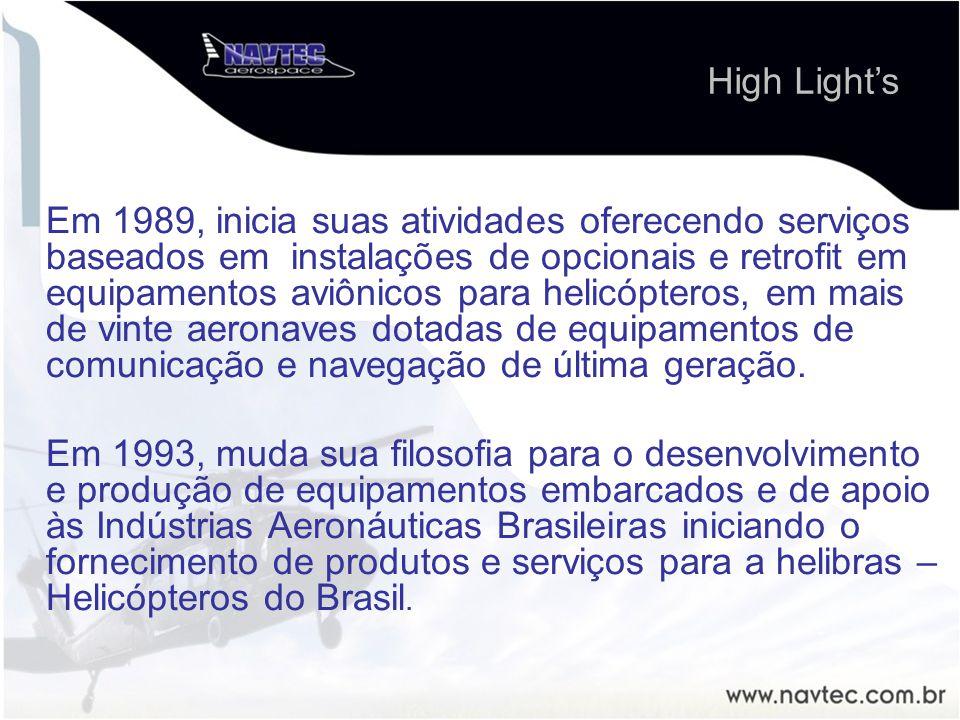 Em 1989, inicia suas atividades oferecendo serviços baseados em instalações de opcionais e retrofit em equipamentos aviônicos para helicópteros, em ma