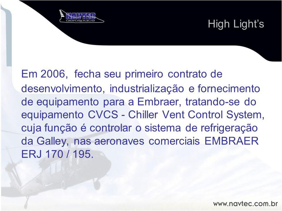 High Lights Em 2006, fecha seu primeiro contrato de desenvolvimento, industrialização e fornecimento de equipamento para a Embraer, tratando-se do equ