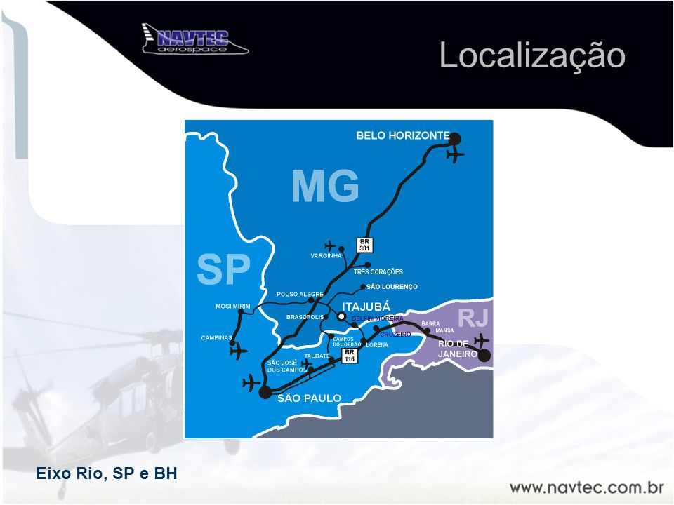 Eixo Rio, SP e BH Localização