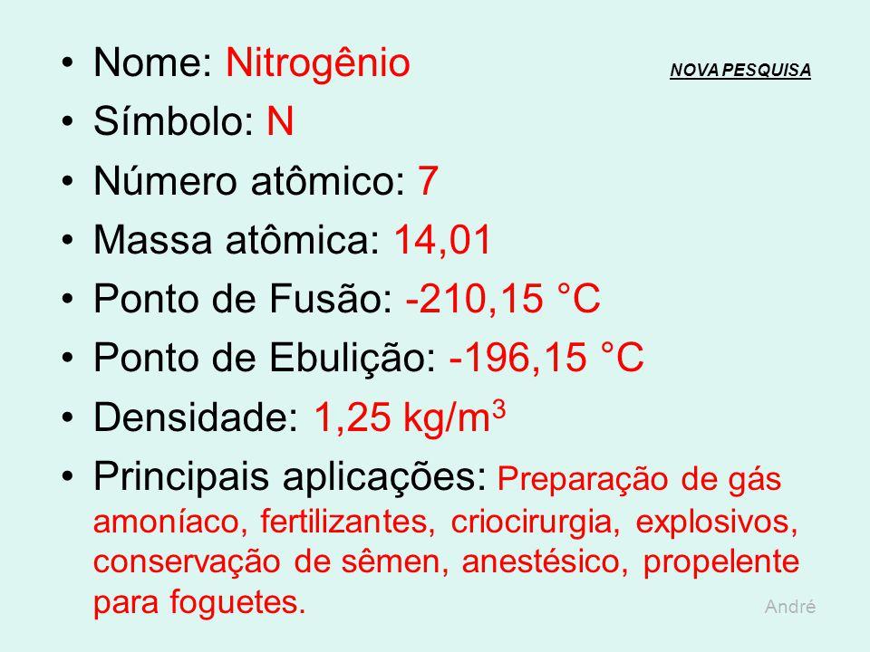 Nome: Carbono NOVA PESQUISANOVA PESQUISA Símbolo: C Número atômico: 6 Massa atômica: 12,01 Ponto de Fusão: 3.550 °C Ponto de Ebulição: 4.830 °C Densid