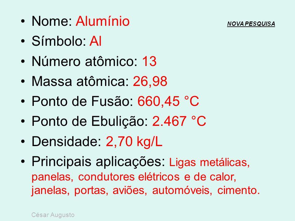 Nome: Magnésio NOVA PESQUISANOVA PESQUISA Símbolo: Mg Número atômico: 12 Massa atômica: 22,31 Ponto de Fusão: 650 °C Ponto de Ebulição: 1.090 °C Densi