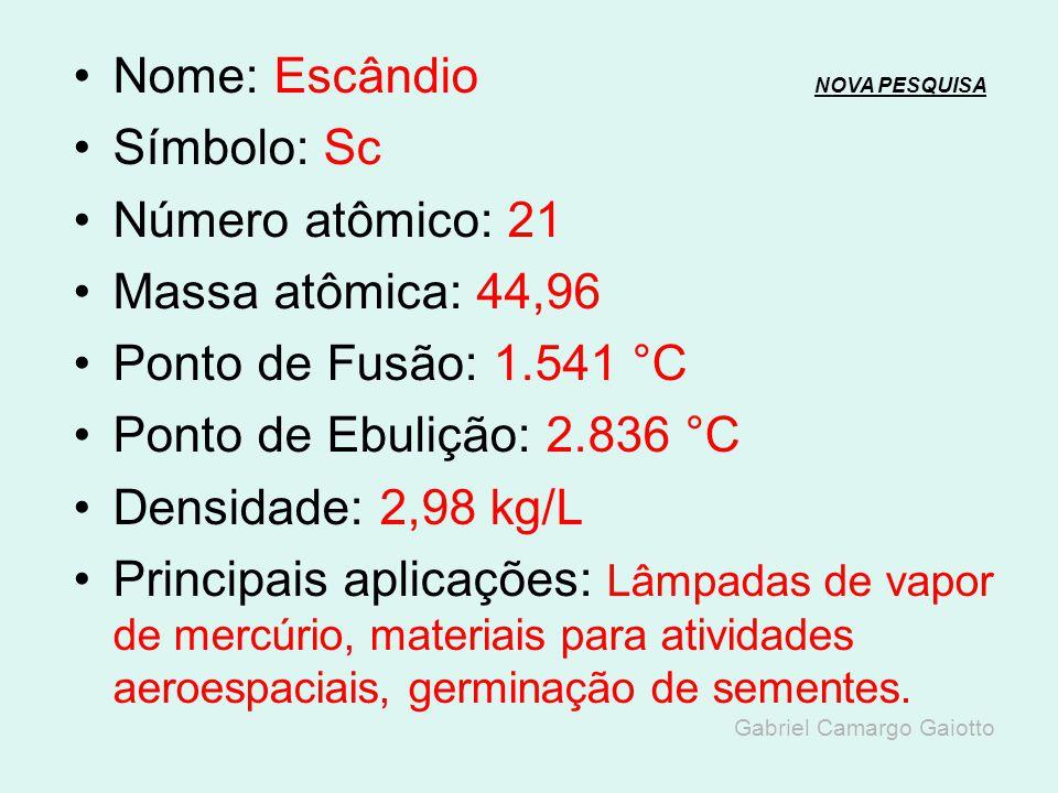 Nome: Cálcio NOVA PESQUISANOVA PESQUISA Símbolo: Ca Número atômico: 20 Massa atômica: 40,08 Ponto de Fusão: 842 °C Ponto de Ebulição: 1.494 °C Densida