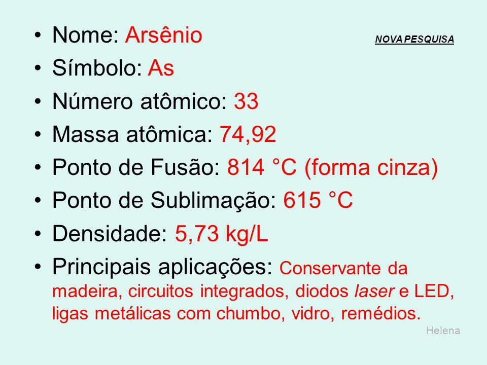 Nome: Germânio NOVA PESQUISANOVA PESQUISA Símbolo: Ge Número atômico: 32 Massa atômica: 72,64 Ponto de Fusão: 938,25 °C Ponto de Ebulição: 2.833 °C De