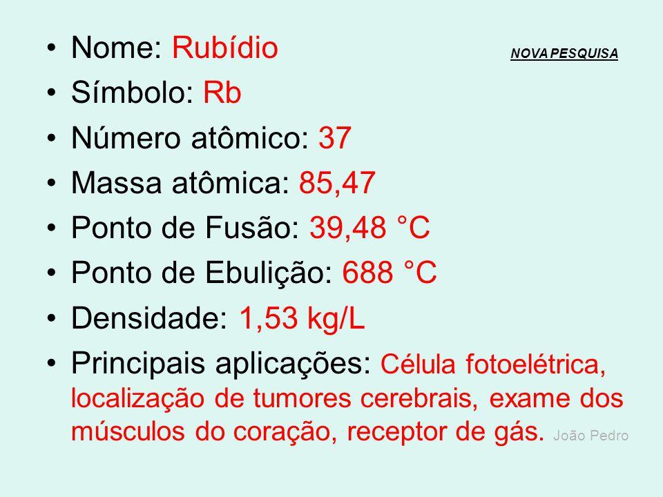 Nome: Criptônio NOVA PESQUISANOVA PESQUISA Símbolo: Kr Número atômico: 36 Massa atômica: 83,8 Ponto de Fusão: -157,36 °C Ponto de Ebulição: -153,22 °C
