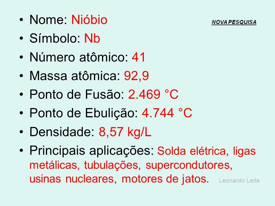 Nome: Zircônio NOVA PESQUISANOVA PESQUISA Símbolo: Zr Número atômico: 40 Massa atômica: 91,22 Ponto de Fusão: 1.855 °C Ponto de Ebulição: 4.409 °C Den