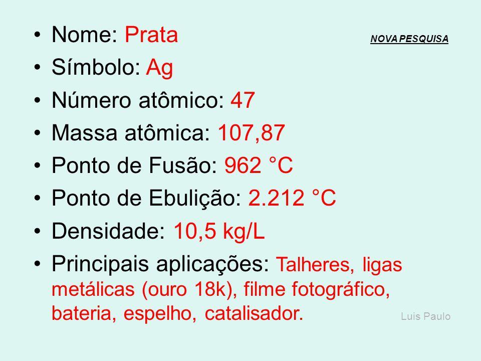 Nome: Paládio NOVA PESQUISANOVA PESQUISA Símbolo: Pd Número atômico: 46 Massa atômica: 106,4 Ponto de Fusão: 1.555 °C Ponto de Ebulição: 2.964 °C Dens