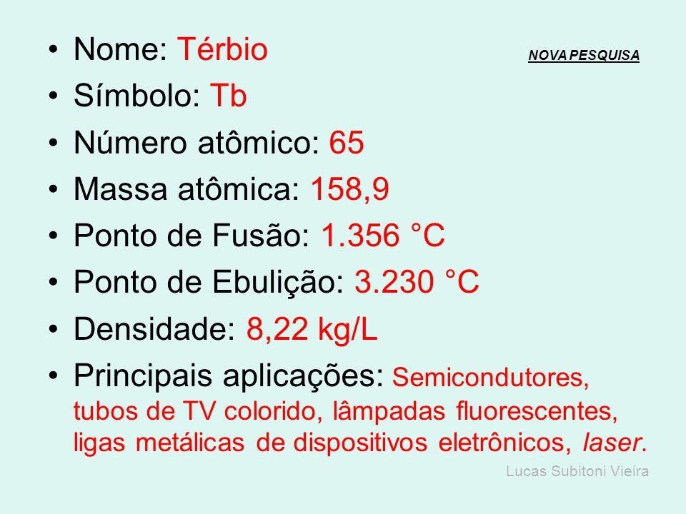 Nome: Gadolínio NOVA PESQUISANOVA PESQUISA Símbolo: Gd Número atômico: 64 Massa atômica: 157,25 Ponto de Fusão: 1.313 °C Ponto de Ebulição: 3.273 °C D