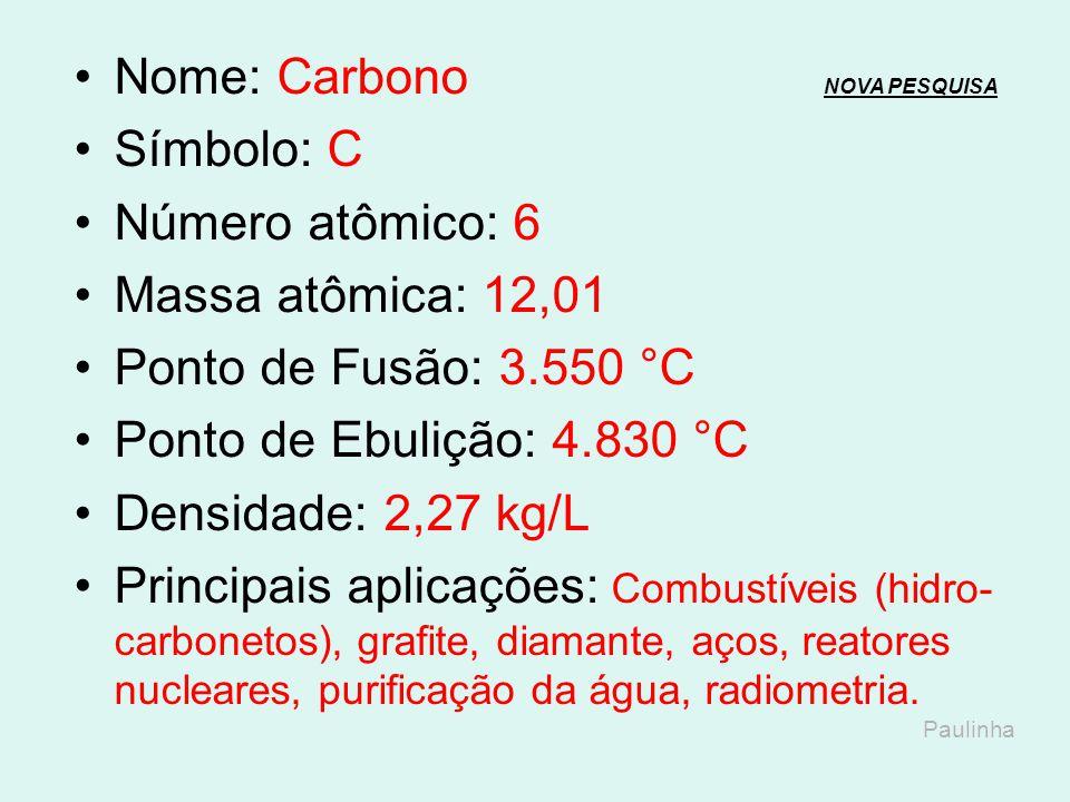 Nome: Boro NOVA PESQUISANOVA PESQUISA Símbolo: B Número atômico: 5 Massa atômica: 10,81 Ponto de Fusão: 2.092 °C Ponto de Ebulição: 4.002 °C Densidade