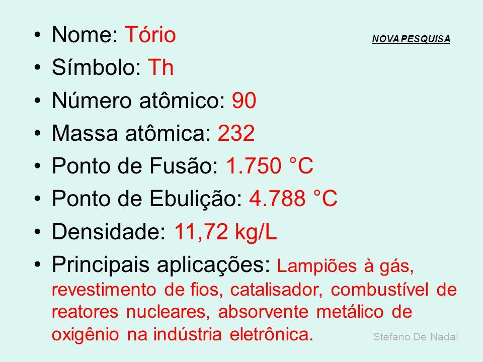 Nome: Actínio NOVA PESQUISANOVA PESQUISA Símbolo: Ac Número atômico: 89 Massa atômica: 227 Ponto de Fusão: 1.051 °C Ponto de Ebulição: 3.200 °C Densid