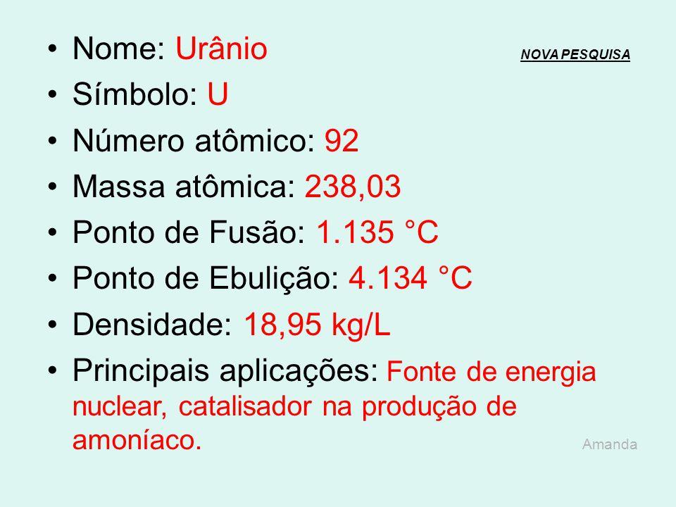 Nome: Protactínio NOVA PESQUISANOVA PESQUISA Símbolo: Pa Número atômico: 91 Massa atômica: 231 Ponto de Fusão: 1.572 °C Ponto de Ebulição: 4.227 °C De