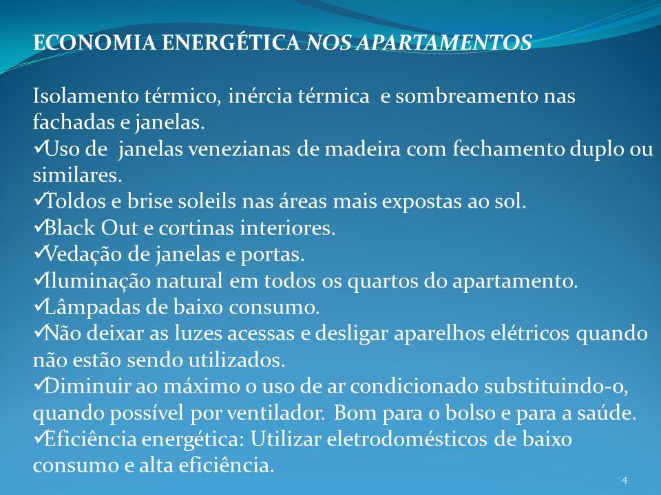 ECONOMIA ENERGÉTICA NOS APARTAMENTOS Isolamento térmico, inércia térmica e sombreamento nas fachadas e janelas. Uso de janelas venezianas de madeira c