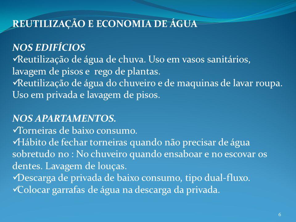 REUTILIZAÇÃO E ECONOMIA DE ÁGUA NOS EDIFÍCIOS Reutilização de água de chuva. Uso em vasos sanitários, lavagem de pisos e rego de plantas. Reutilização