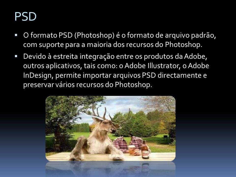 PSD O formato PSD (Photoshop) é o formato de arquivo padrão, com suporte para a maioria dos recursos do Photoshop. Devido à estreita integração entre