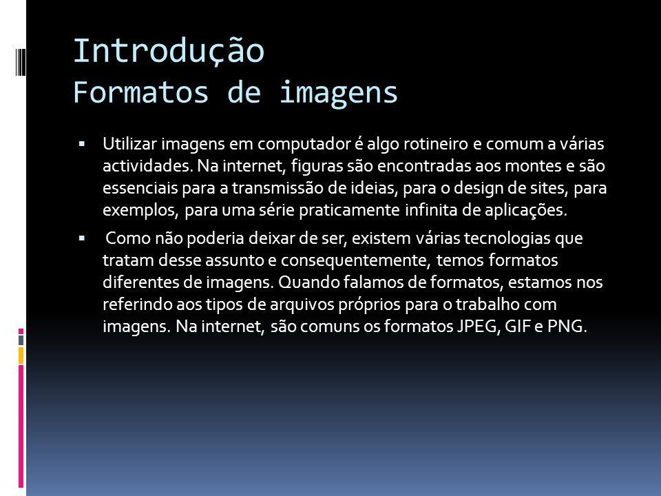 Introdução Formatos de imagens Utilizar imagens em computador é algo rotineiro e comum a várias actividades. Na internet, figuras são encontradas aos