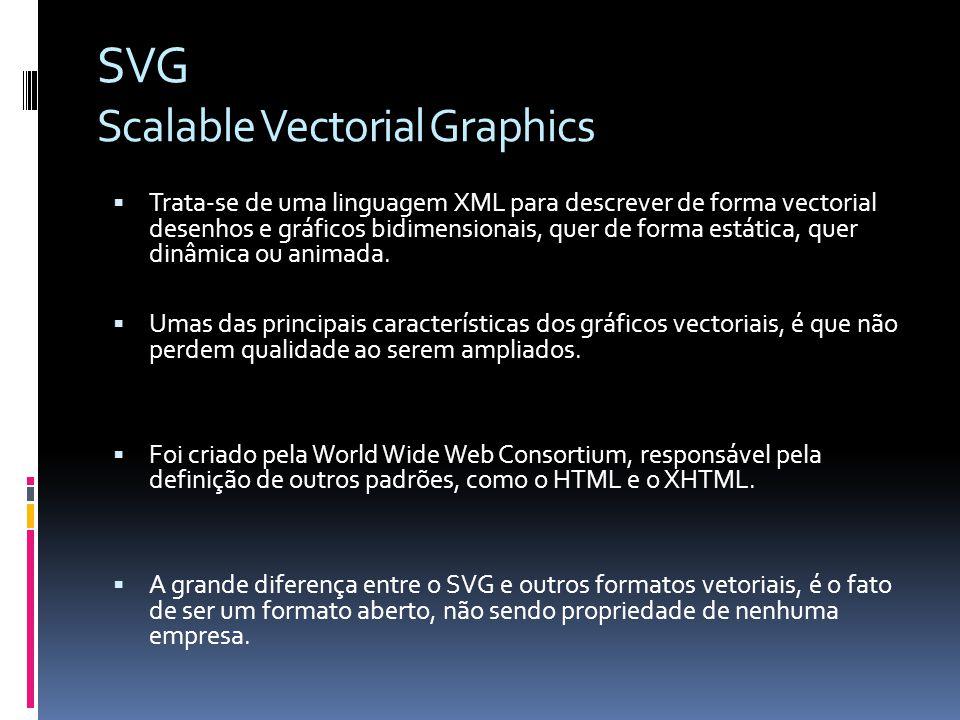 Trata-se de uma linguagem XML para descrever de forma vectorial desenhos e gráficos bidimensionais, quer de forma estática, quer dinâmica ou animada.