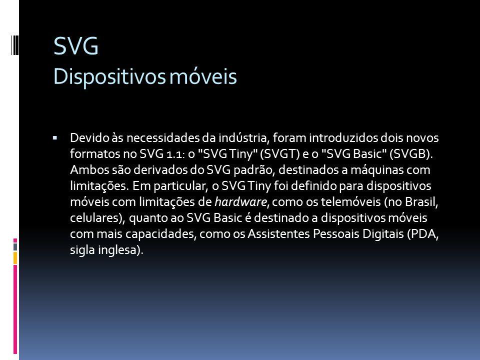 SVG Dispositivos móveis Devido às necessidades da indústria, foram introduzidos dois novos formatos no SVG 1.1: o