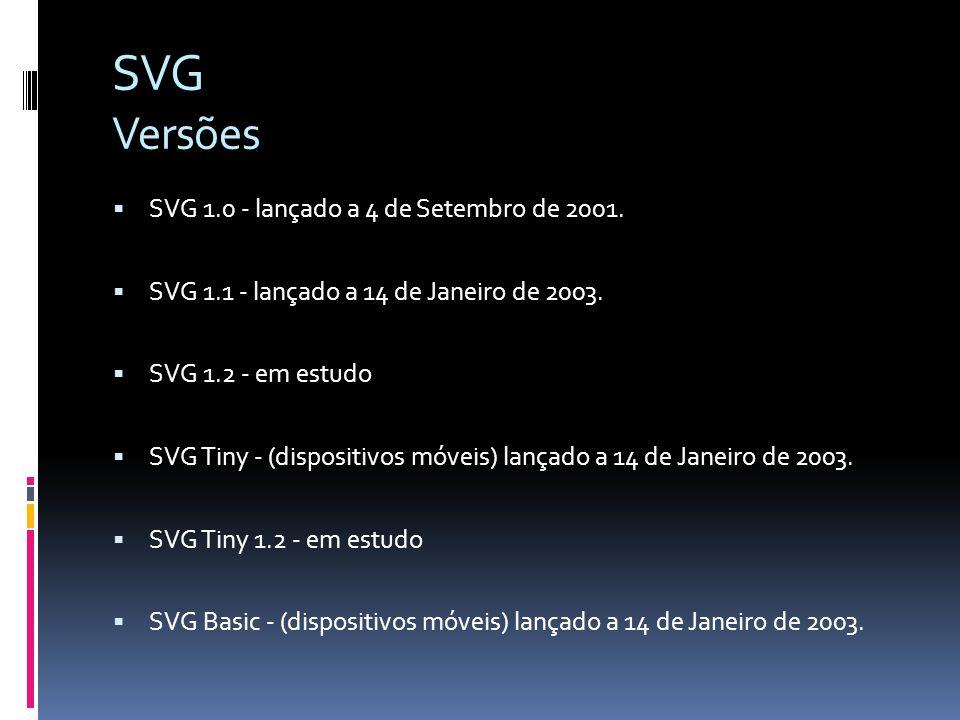 SVG Versões SVG 1.0 - lançado a 4 de Setembro de 2001. SVG 1.1 - lançado a 14 de Janeiro de 2003. SVG 1.2 - em estudo SVG Tiny - (dispositivos móveis)