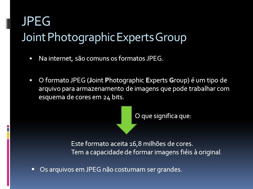 Na internet, são comuns os formatos JPEG. O formato JPEG (Joint Photographic Experts Group) é um tipo de arquivo para armazenamento de imagens que pod
