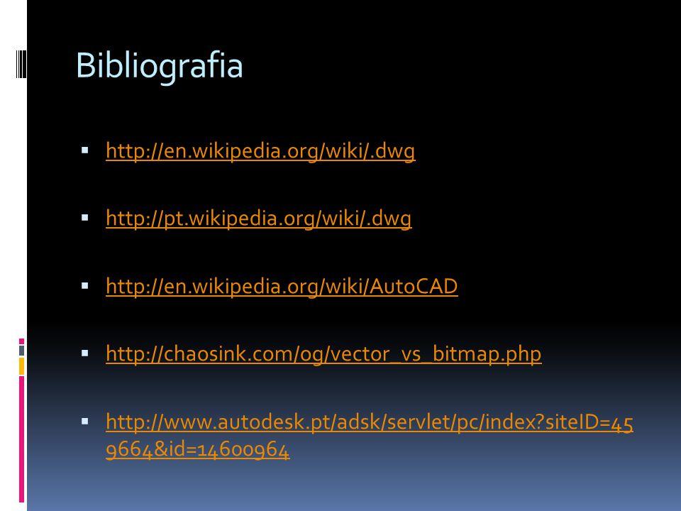 Bibliografia http://en.wikipedia.org/wiki/.dwg http://pt.wikipedia.org/wiki/.dwg http://en.wikipedia.org/wiki/AutoCAD http://chaosink.com/og/vector_vs