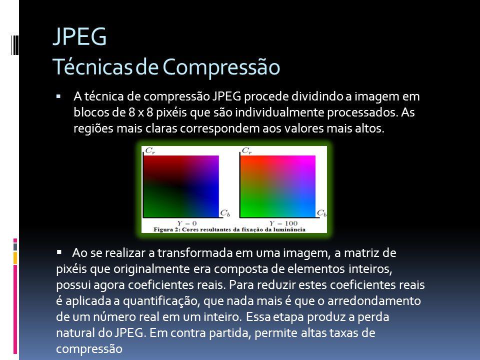 JPEG Técnicas de Compressão O olho humano é mais sensitivo aos valores de luminância, logo, a transformação da cor concentra a informação mais importante em um único componente.