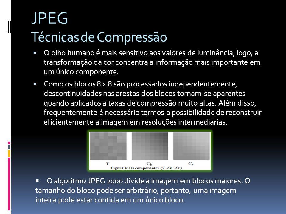JPEG Técnicas de Compressão O olho humano é mais sensitivo aos valores de luminância, logo, a transformação da cor concentra a informação mais importa