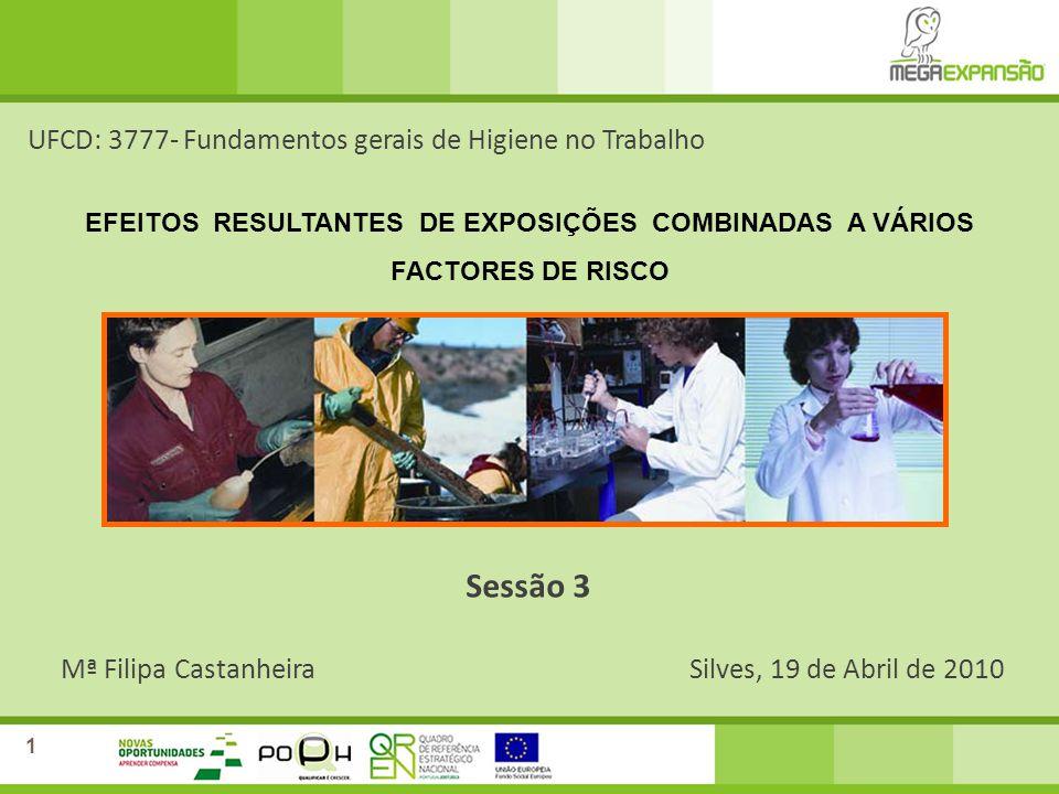 Mª Filipa CastanheiraSilves, 19 de Abril de 2010 UFCD: 3777- Fundamentos gerais de Higiene no Trabalho Sessão 3 1 EFEITOS RESULTANTES DE EXPOSIÇÕES CO