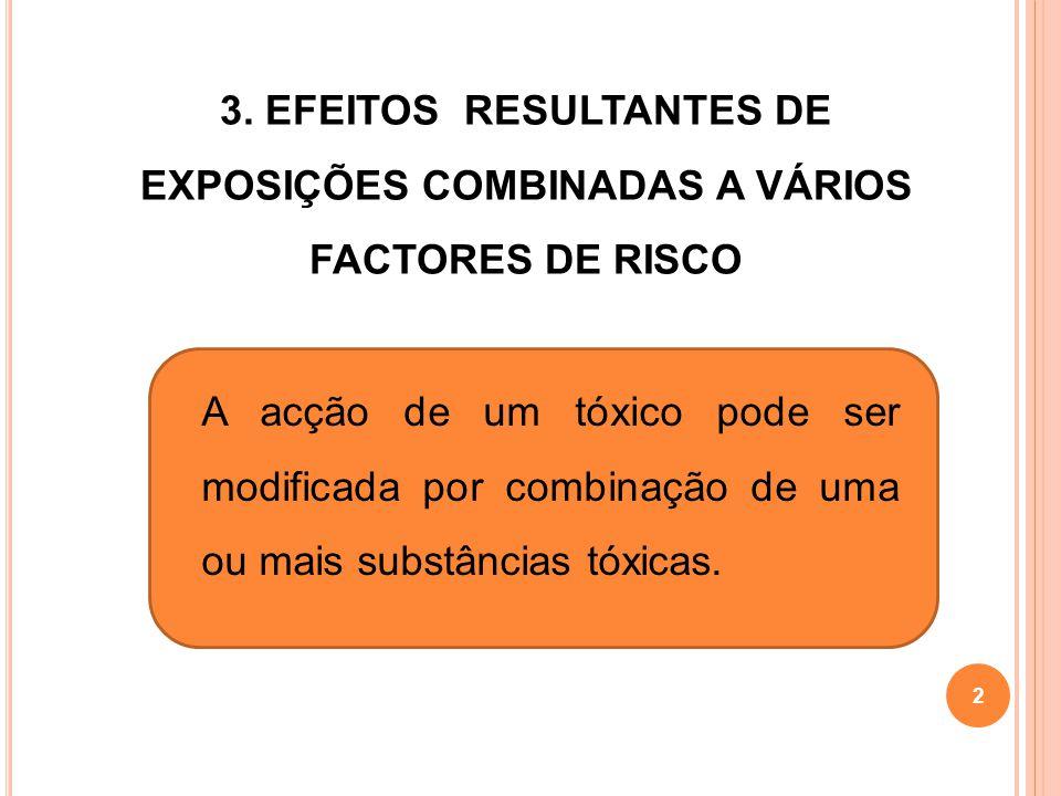 2 3. EFEITOS RESULTANTES DE EXPOSIÇÕES COMBINADAS A VÁRIOS FACTORES DE RISCO A acção de um tóxico pode ser modificada por combinação de uma ou mais su