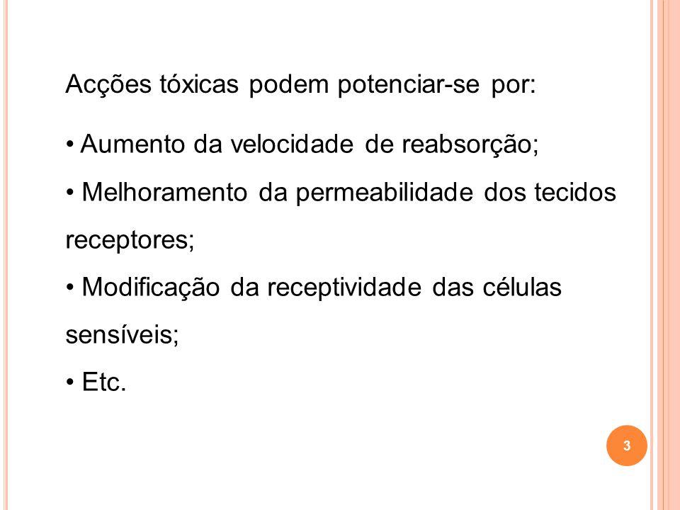 3 Acções tóxicas podem potenciar-se por: Aumento da velocidade de reabsorção; Melhoramento da permeabilidade dos tecidos receptores; Modificação da re