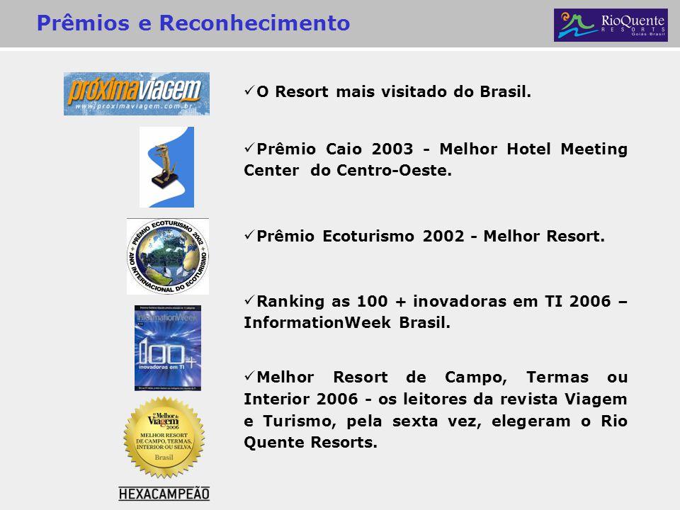 O Resort mais visitado do Brasil. Prêmio Caio 2003 - Melhor Hotel Meeting Center do Centro-Oeste. Prêmio Ecoturismo 2002 - Melhor Resort. Ranking as 1