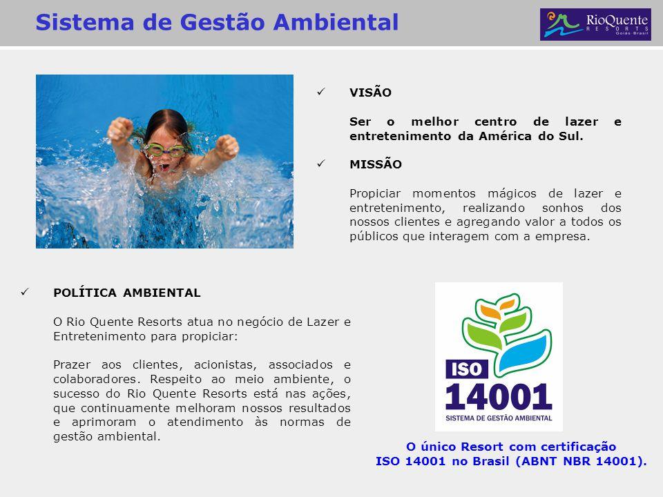 Sistema de Gestão Ambiental POLÍTICA AMBIENTAL O Rio Quente Resorts atua no negócio de Lazer e Entretenimento para propiciar: Prazer aos clientes, aci