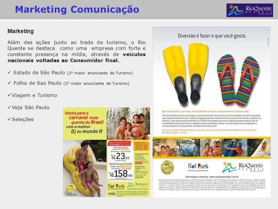 Marketing Comunicação Marketing Além das ações junto ao trade de turismo, o Rio Quente se destaca como uma empresa com forte e constante presença na m