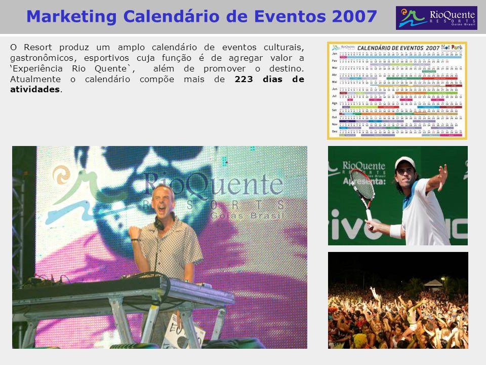 Marketing Calendário de Eventos 2007 O Resort produz um amplo calendário de eventos culturais, gastronômicos, esportivos cuja função é de agregar valo