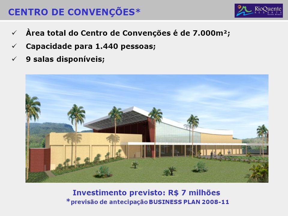 CENTRO DE CONVENÇÕES* Àrea total do Centro de Convenções é de 7.000m²; Capacidade para 1.440 pessoas; 9 salas disponíveis; Investimento previsto: R$ 7