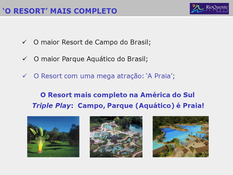 O RESORT MAIS COMPLETO O maior Resort de Campo do Brasil; O Resort com uma mega atração: A Praia; O Resort mais completo na América do Sul Triple Play