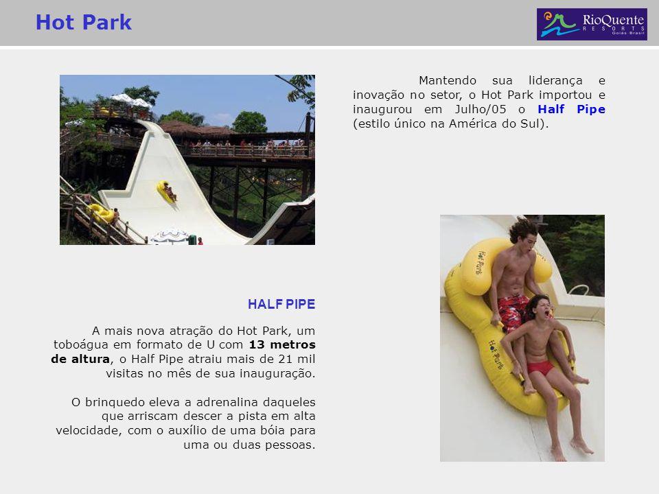 Hot Park HALF PIPE A mais nova atração do Hot Park, um toboágua em formato de U com 13 metros de altura, o Half Pipe atraiu mais de 21 mil visitas no