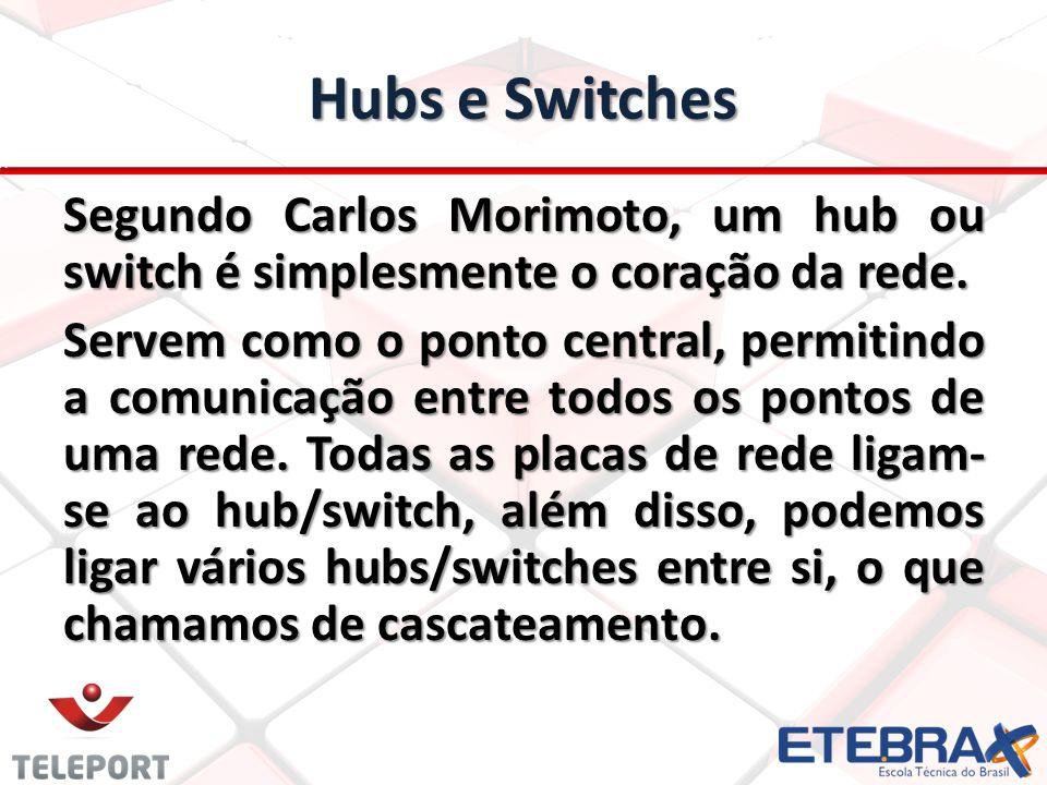 Hubs e Switches Segundo Carlos Morimoto, um hub ou switch é simplesmente o coração da rede. Servem como o ponto central, permitindo a comunicação entr