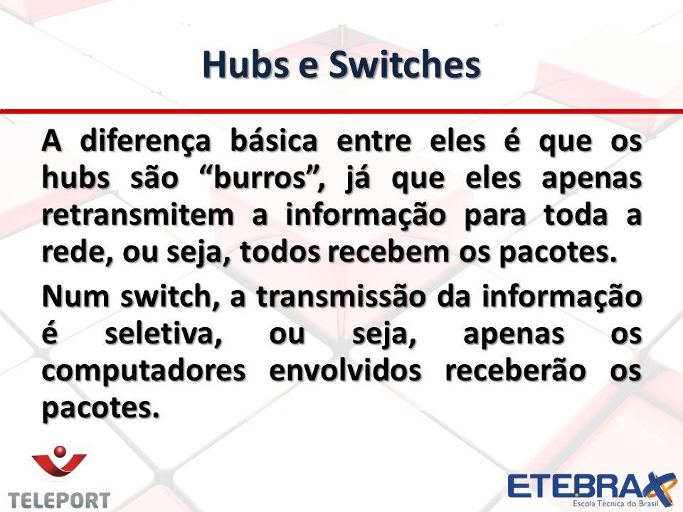 Hubs e Switches A diferença básica entre eles é que os hubs são burros, já que eles apenas retransmitem a informação para toda a rede, ou seja, todos recebem os pacotes.