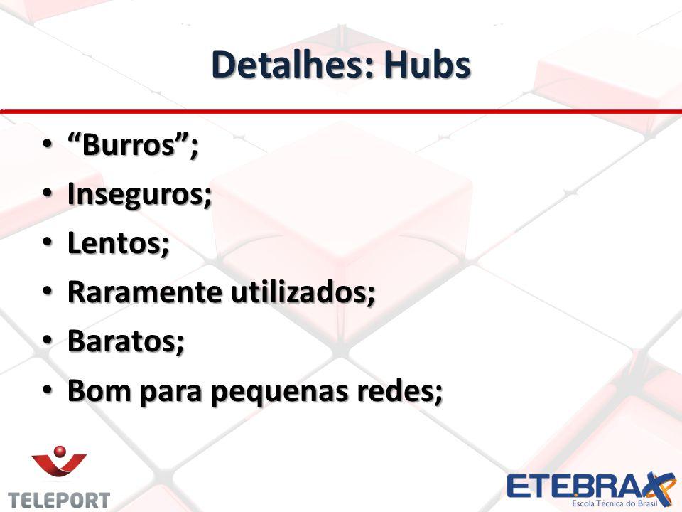 Detalhes: Hubs Burros; Burros; Inseguros; Inseguros; Lentos; Lentos; Raramente utilizados; Raramente utilizados; Baratos; Baratos; Bom para pequenas redes; Bom para pequenas redes;