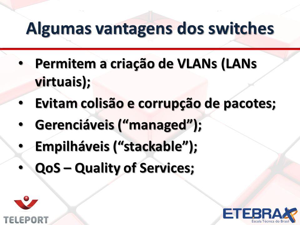 Algumas vantagens dos switches Permitem a criação de VLANs (LANs virtuais); Permitem a criação de VLANs (LANs virtuais); Evitam colisão e corrupção de