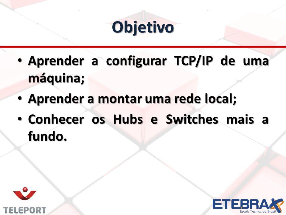 Objetivo Aprender a configurar TCP/IP de uma máquina; Aprender a configurar TCP/IP de uma máquina; Aprender a montar uma rede local; Aprender a montar uma rede local; Conhecer os Hubs e Switches mais a fundo.