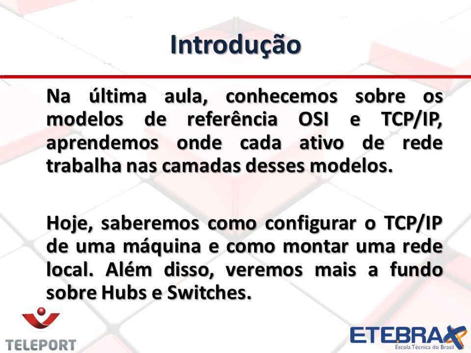 Introdução Na última aula, conhecemos sobre os modelos de referência OSI e TCP/IP, aprendemos onde cada ativo de rede trabalha nas camadas desses mode