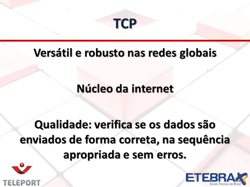 TCP Versátil e robusto nas redes globais Núcleo da internet Qualidade: verifica se os dados são enviados de forma correta, na sequência apropriada e s